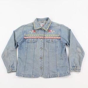 Bill Blass Vintage Embroidered Rose Denim Jacket